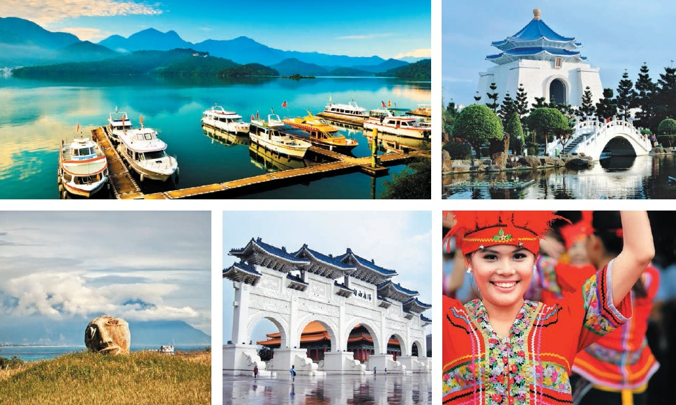 (Clockwise - L-R) A visit to Sun Moon Lake is never complete without a yacht tour; Chiang Kai-shek Memorial Hall is a Taiwanese national monument, landmark and tourist attraction; Beautiful native girls performing at Kwan-Yin Buddha Christmas before the Chao Feng Temple; outside view of Chiang Kai-Shek Memorial Hall; located near Hualian City, Cisingtan is famous for its beach situated in a picturesque bay