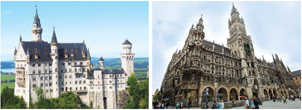 (Left) Neuschwanstein Castle, a popular tourist attraction, is built atop a rock ledge over the Poellat Gorge in the Bavarian Alps; (Right) Impressive New Town Hall, Munich