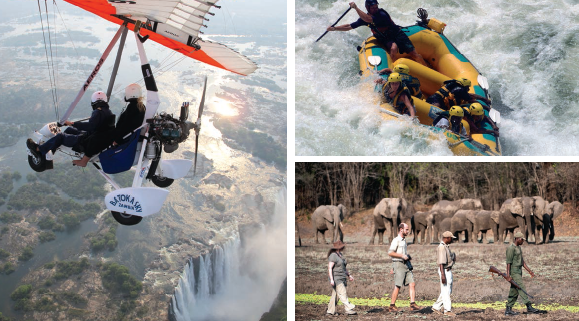 One can do whitewater rafting, canoeing, elephant safari, helicopter overflights over the Victoria Falls, which is situated in the adventure capital of Southern Africa, Livingstone