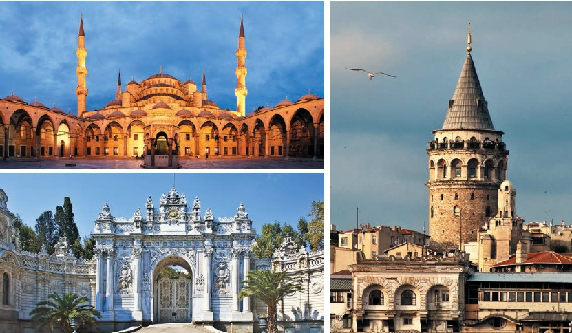 (Top) Panoramic view of the courtyard of the Blue Mosque; (bottom) Dolmbahace Palace is a symbol of the magnificence and decadence of the 19th century Ottoman Empire Built in 1348, Galata Tower is the tallest structure in the city and offers a nice view of the straits and Sultanahmet