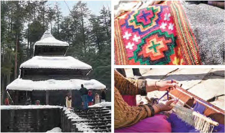 (Clockwise) Hidimba Devi Temple, covered in snow during winters; Women in the surrounding villages self-employ themselves through weaving wollen apparels such as shawl that they sell in the market in Manali