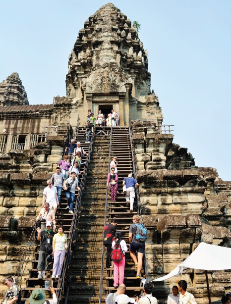 Steep steps lead to the top of the Angkor Wat temple