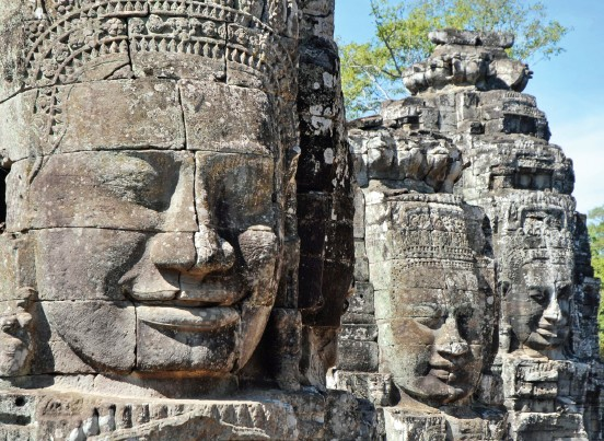 Bayon Temple at Angkor Thom with its countless sculptural decorations