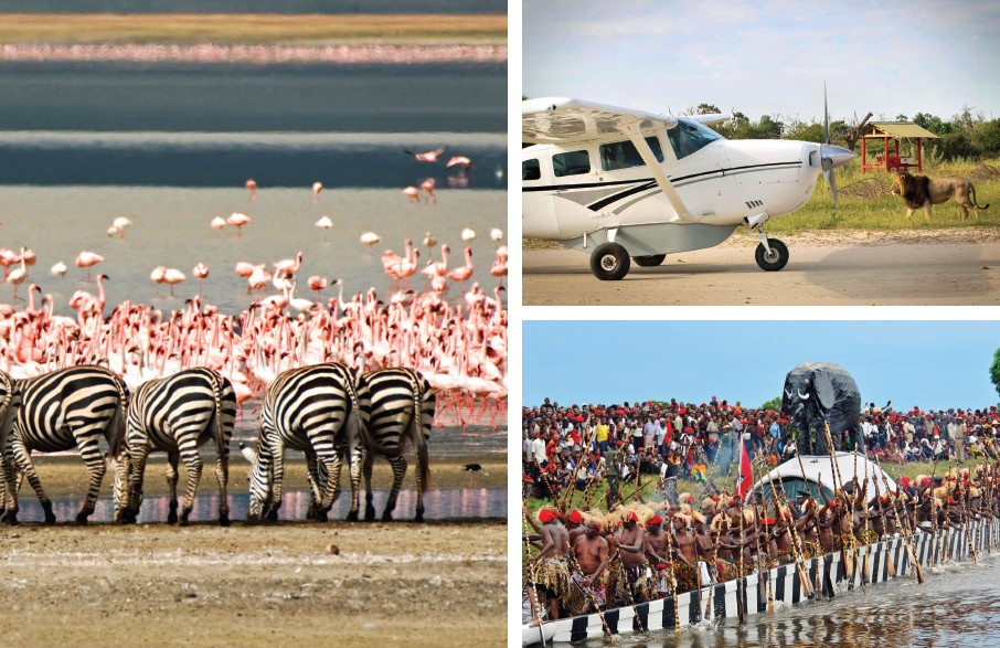 (Top) Flying to Okavango safari camps by light aircraft; (bottom) Kuomboka Festival of the Lozi people