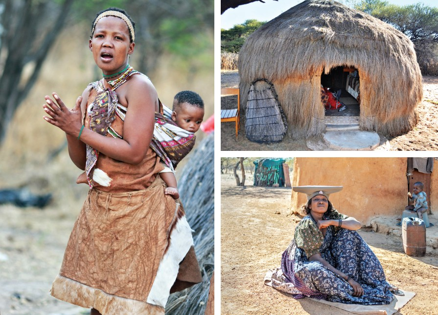 San women of Ghanzi in Botswana and their village life