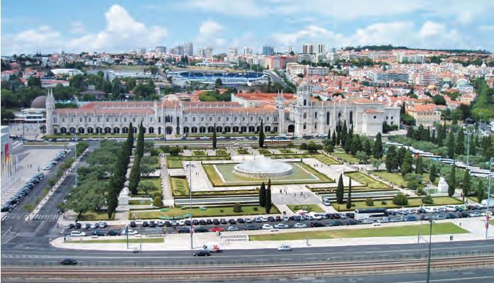 A view of the Jerónimos Monastery from the top of the Padrão dos Descobrimentos monument