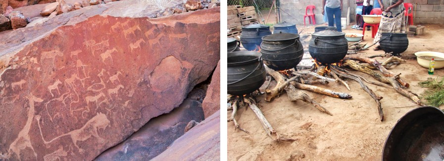 (Left) Ancient rock art at Tsodilo Hills, a sacred Bushmen site;(right) Potjie, a traditional pot, is used to cook food