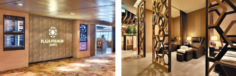 (left) Entrance of the Plaza Premium Lounge at Changi airport, Singapore; (right) spa facility at the lounge