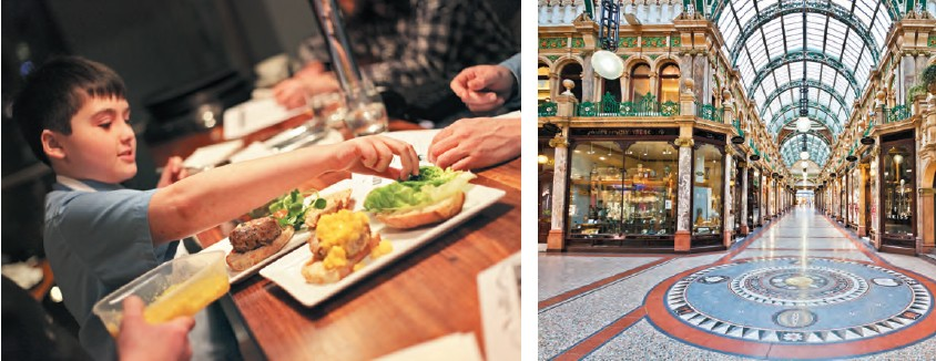 (left) Leeds is one of the best places in the UK for a foodie; (right) the Grand Arcade is one of the oldest shopping centres at Leeds