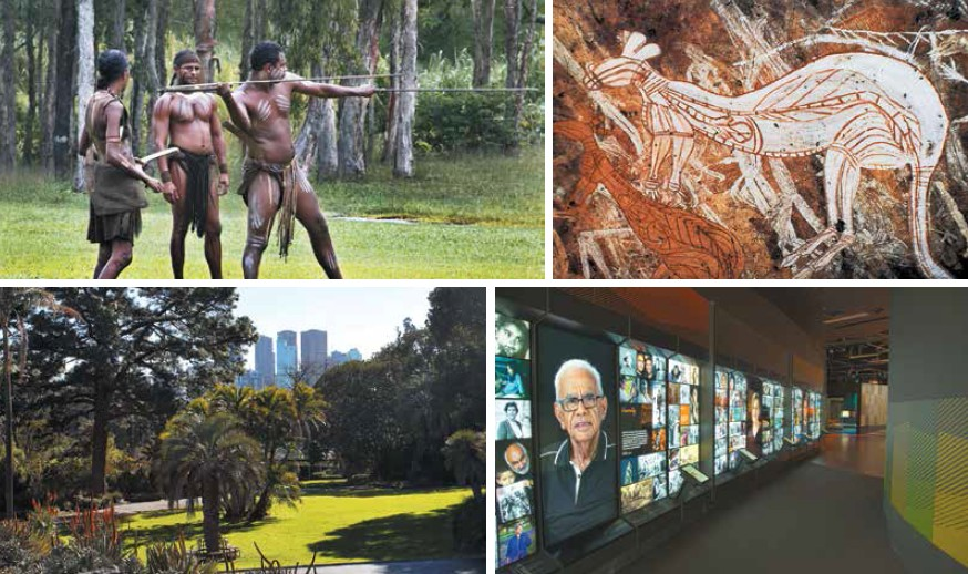 (Clockwise from left to right) Aboriginal traditional dancers; Aboriginal hunting weapons; Mimis and Kangaroo rock paintaings at Oenpelli, Arnhem Land; Aboriginal Cultural Centre at Melbourne Museum; Botanic Gardens in Melbourne