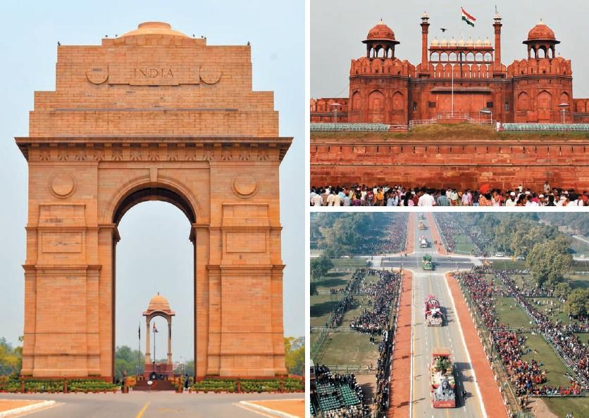 De izda. a dcha., en el sentido de las agujas del reloj: la Puerta de la India, el fuerte Rojo, Raj Path durante el desfile del Día de la República