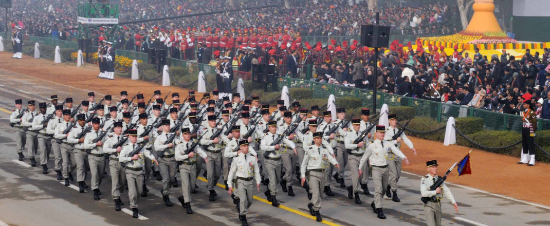 The French Army marching contingents passes through the Rajpath, on the occasion of the 67th Republic Day Parade 2016, in New Delhi on January 26, 2016.