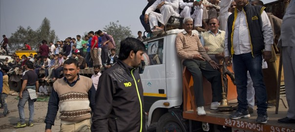 Protesters from India's Jat agricultural caste block a highway linking New Delhi to Rohtak in the state of Haryana. The government has sent columns of troops to the area.
