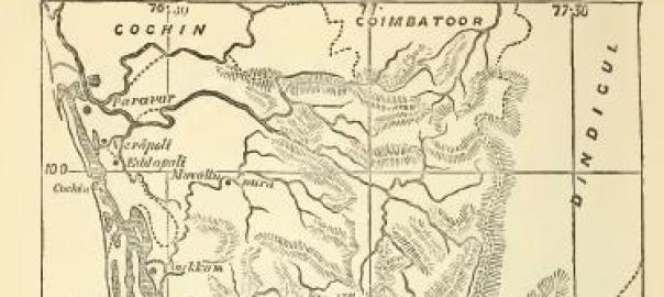Une carte de 1871 du royaume de Travancore, où Nangeli a vécu et souffert, dans la ville côtière de Cherthala (au sud de Cochin sur la carte).