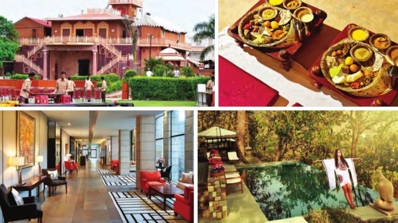 (Im Uhrzeigersinn von links nach rechts) Ananta Resort in Pushkar; Nirali Dhani, ein ethnisches Hotel in Jodhpur; einheimische Gerichte und Bräuche sind die Spezialitäten der Boutique-Hotels; eine individuelle, entspannende Erfahrung in Ananda im Himalaya