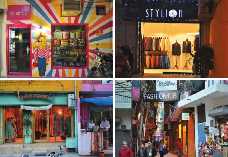 (Im Uhrzeigersinn von oben links) Einer der vielen Graffitis in dem Ort, die an allen Ecken und Winkeln zu finden sind; Ein hochwertiger Designer-Ausstellungsraum in den engen Gassen des Dorfes; Eine perfekte Mischung aus Dorfleben und Designerstudios und Shahpur Jat hat sich zu einem Modezentrum entwickelt, das über die Jahre täglich Modeenthusiasten anzieht