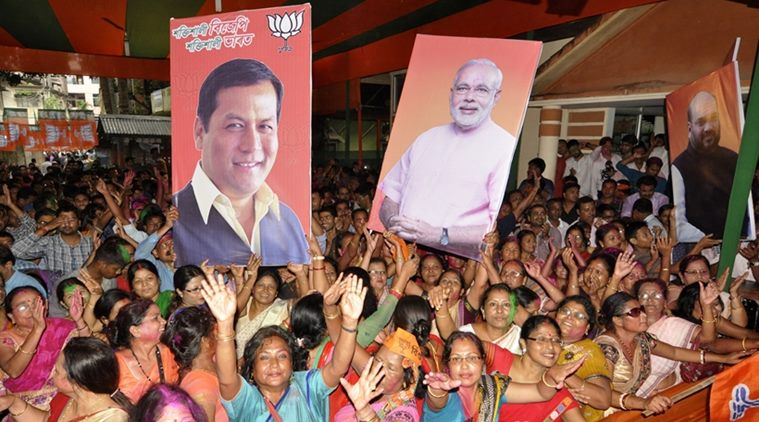 BJP supporters rejoice the victory of Sarbananda Sonowal in Assam