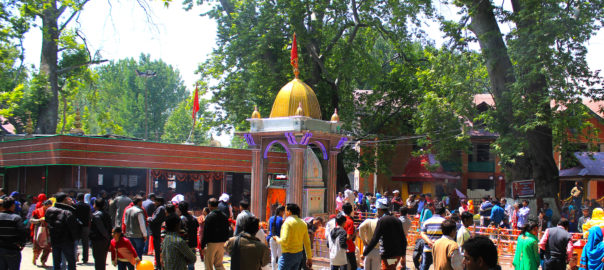 Devotees surrounding the temple