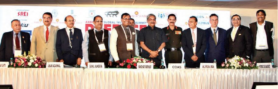 "Union minister for defence, Manohar Parrikar at the ""Global Investors' Summit-Defence Sector"", organised at the DefExpo 2016, in Goa in March"