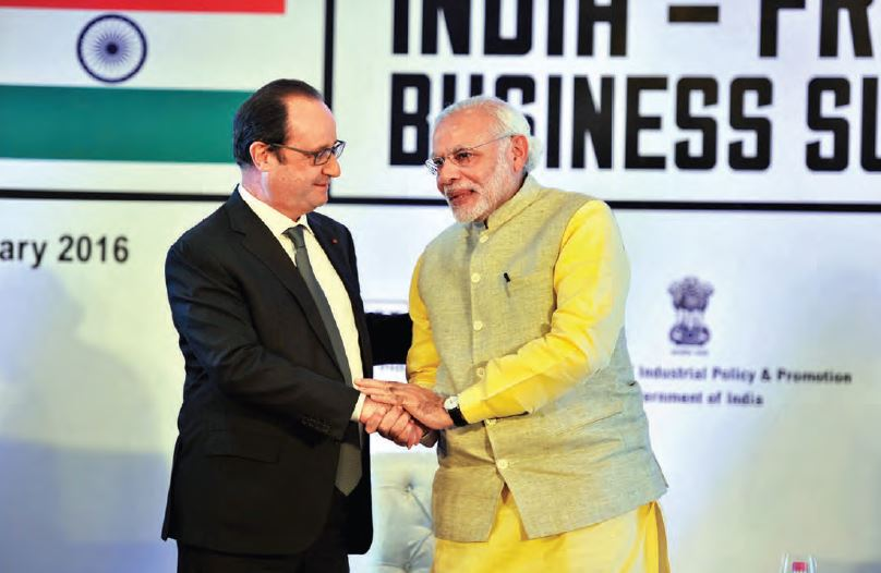 French President François Hollande and Indian Prime Minister Narendra Modi at the India-France Business Summit, in Chandigarh, on January 24, 2016. Aiming at Make in India many developments, from defence to smart cities
