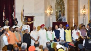 Prime Minister Narendra Modi with 19 new members of his cabinet who took oath at the Rashtrapati Bhavan yesterday
