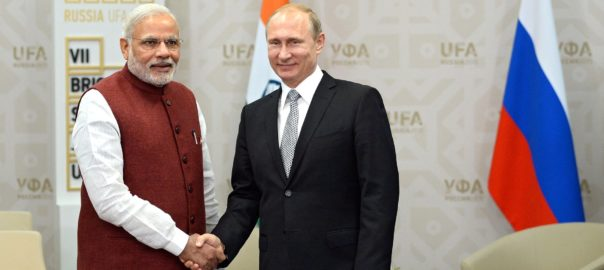 Narendra Modi and Vladimir Putin at the BRICS summit in 2015