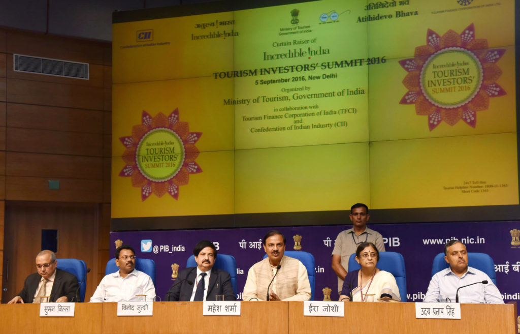 Dr. Mahesh Sharma addressing a press conference about the 'Incredible India Tourism Investors Summit 2016'