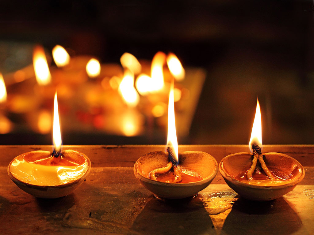 Lit diyas during the celebrations