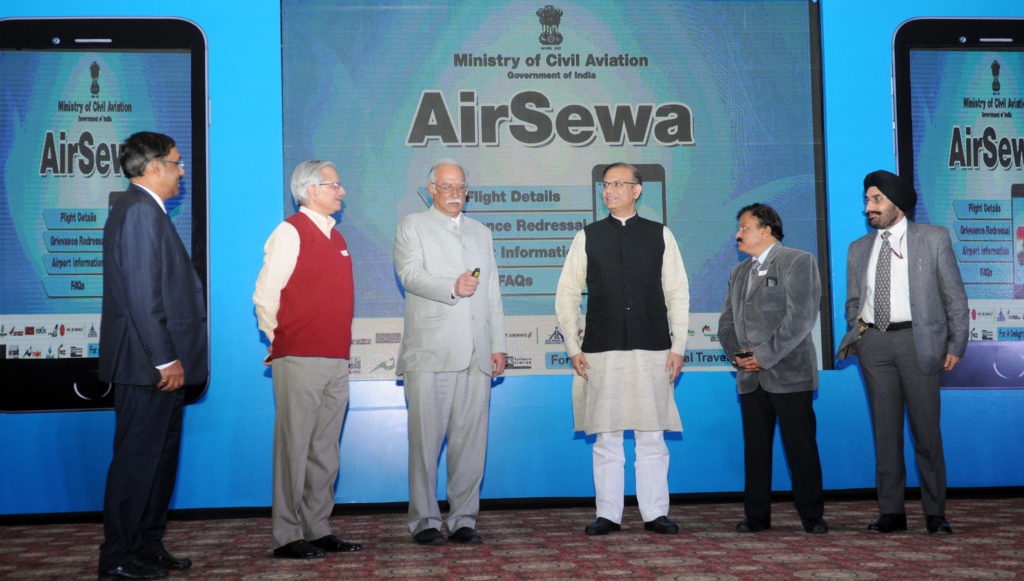 The Union Minister for Civil Aviation Ashok Gajapathi Raju Pusapati launching the AirSewa Portal in New Delhi