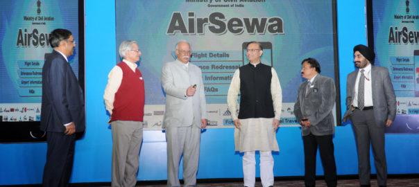 The Union Minister for Civil Aviation Ashok Gajapathi Raju Pusapati launching the AirSewa Portal in New Delhi