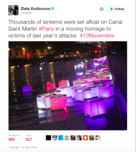 Floating lanterns were seen on Canal Saint Martin Paris in a homage to victims of last year's attacks. photo via Twitter @zlata07