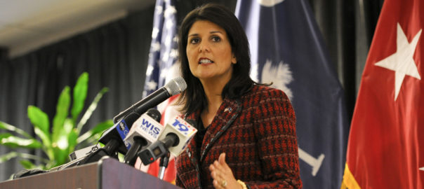 South Carolina Gov. Nikki Haley joins U.S. military service members and community business partners for the launch of Operation Palmetto Employment, a statewide military employment initiative aimed at making South Carolina the most military-friendly state in the nation, Feb. 26, 2014, at Sysco in Columbia, S.C. (U.S. Air National Guard photo by Tech. Sgt. Jorge Intriago/Released)