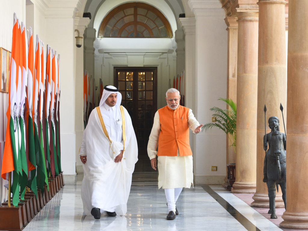 Narendra Modi with the Prime Minister of Qatar at Hyderabad House, in New Delhi