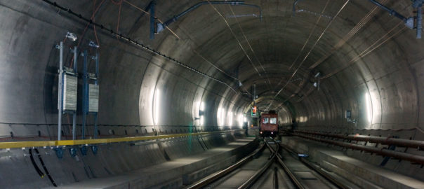 The Gotthard Base Tunnel is, with a length of 57.09 kilometres and a total of 151.84 km of tunnels, shafts and passages, the longest railway tunnel in the world
