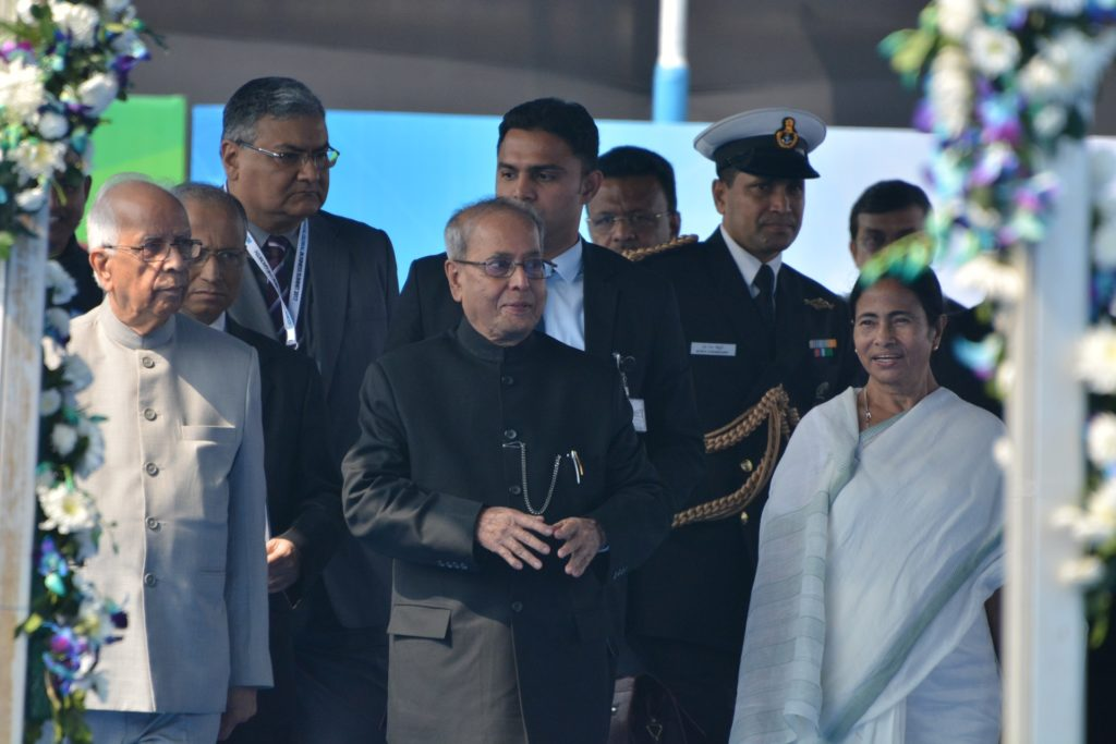 President Pranab Mukherjee with the Governor of West Bengal Keshri Nath Tripathi and the Chief Minister Mamata Bannerjee at the inauguration of BGBS 2017