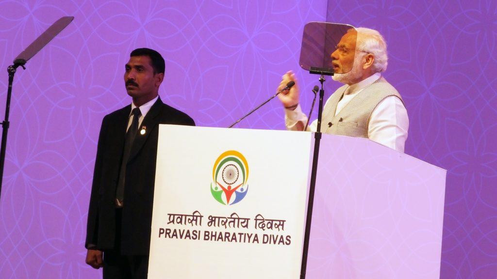 PM Narendra Modi addressing the Pravasi Bharatiya Divas in Bengaluru