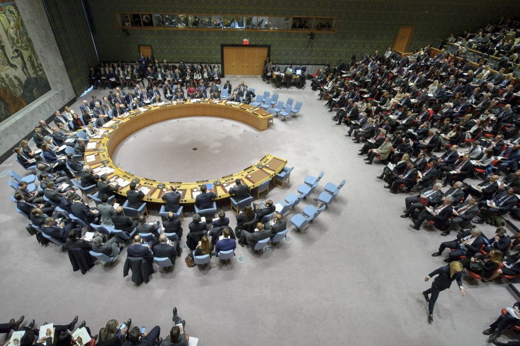 The Security Council Chamber while Secretary General Guterres addresses