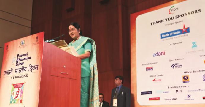 Minister of External Affairs Sushma Swaraj addressing the Indian Diaspora gathering at PBD 2015 in Ahemdabad, Gujarat