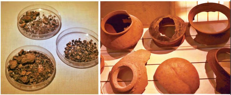 Von links nach rechts: Während der Ausgrabungen in Pattanam im Jahr 2007 wurde unter anderem das aromatische Harz Weihrauch entdeckt, das bereits in Duftkerzen und Parfüms des 1. Jahrhunderts vor Christus verwendet wurde; die einfachen Menschen in Muziris beschäftigen sich eher mit Töpferei
