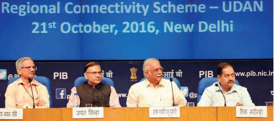 From Left to Right: Secretary, Ministry of Civil Aviation, R.N. Choubey, Minister of State for Civil Aviation, Jayant Sinha, Union Minister for Civil Aviation, Ashok Gajapathi Raju Pusapati and the Director General (M&C), Press Information Bureau, A.P. Frank Noronha at the launch of the Regional Connectivity Scheme-UDAN