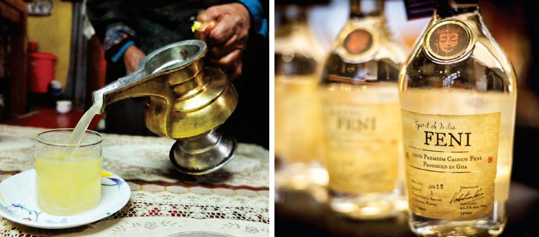 Einzelne Gebräue aus ländlichen Hinterhöfen (im Uhrzeigersinn von links nach recht: Bhaang; Kallu; Chhang; Feni; Liebestrank (Zawleidi Flasche)