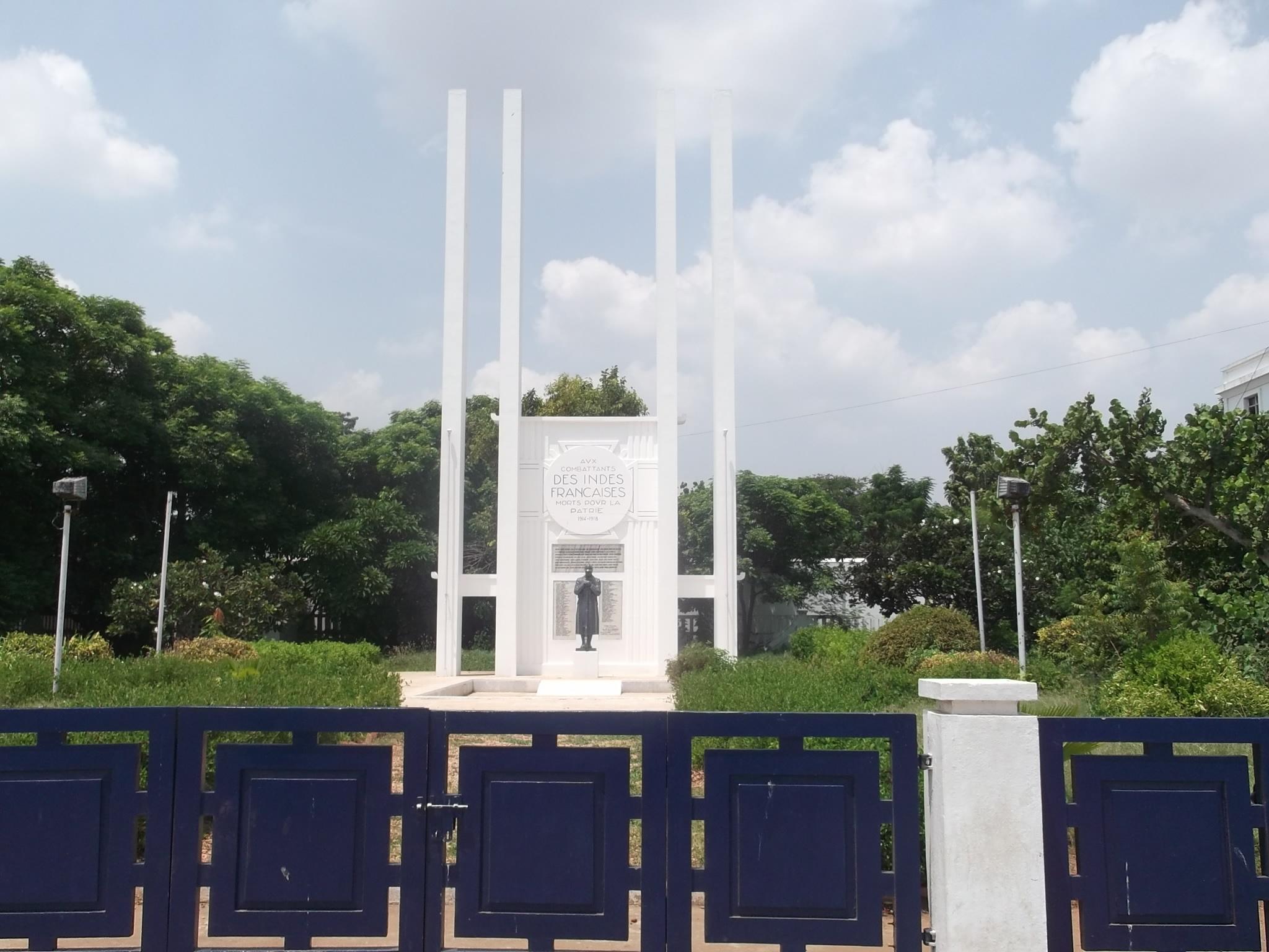 The French War Memorial on Goubert Avenue in Puducherry