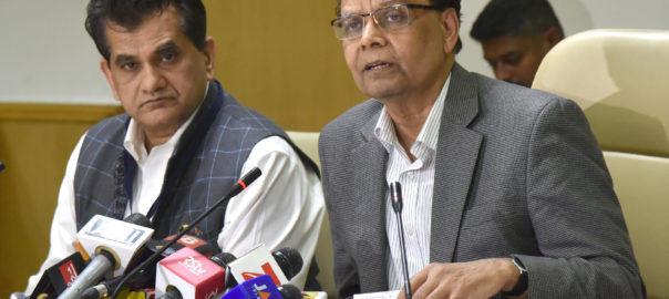 The Vice Chairman, NITI Aayog, Dr. Arvind Panagariya briefing the media after the Governing Council Meeting, in New Delhi