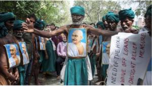 Farmers from Tamil Nadu have been protesting at Jantar Mantar in New Delhi. Photo-PTI