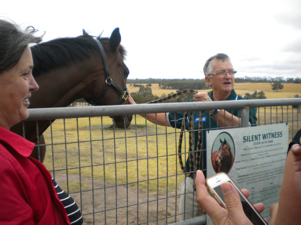 The CEO of Living Legends patting one of the horses while taking to the visitors