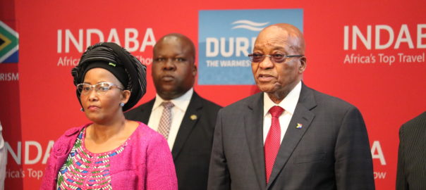 Jacob Zuma, President of South Africa and Tokozile Xasa, Tourism Minister of South Africa at the inauguration of the INDABA tourism fair 2017 in Durban