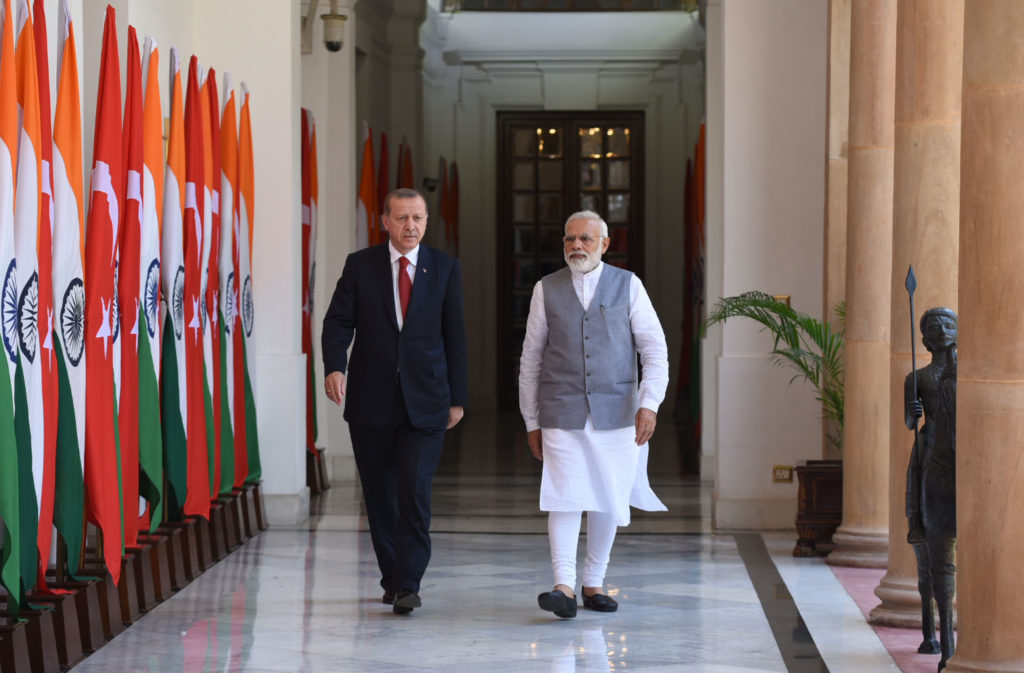 Indian Prime Minister, Narendra Modi with the President of Turkey, Recep Tayyip Erdogan