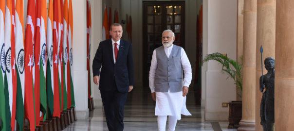Indian Prime Minister, Narendra Modi with the President of Turkey, Recep Tayyip Erdogan