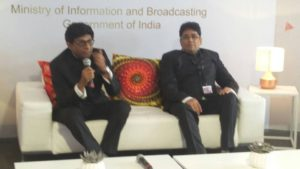 Dr Mohan Kumar and Ashok Parmar at the India Pavillion in Cannes