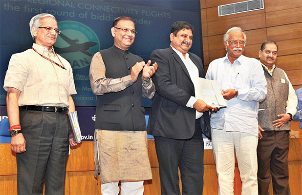Union Minister for Civil Aviation, Ashok Gajapathi Raju awarded the Regional Connectivity Flight routes after first round of bidding under RCS-UDAN, at a press conference, in New Delhi on March 30, 2017 - Minister of State for Civil Aviation, Jayant Sinha; the Secretary, Ministry of Civil Aviation, R. N. Choubey; and Principal Director General (M&C), Press Information Bureau, A. P. Frank Noronha were also present
